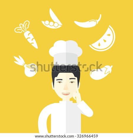 A cheerful asian chief-cooker in uniform with finger up and vegetables flying in air vector flat design illustration. Square layout. - stock vector
