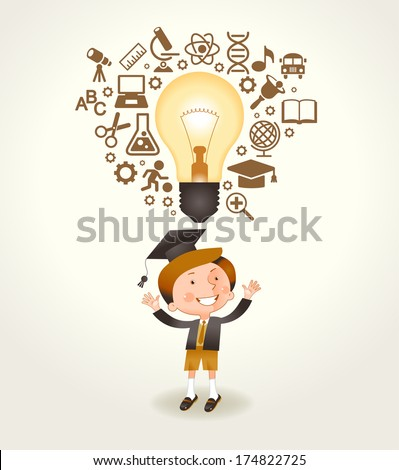 A cheerful boy having a good idea. Light bulb and education icons over his head boy. The file is saved in the version AI10 EPS. This image contains transparency. - stock vector