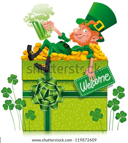 A cheerful leprechaun holding a green beer on a gift box This file does not contains transparency. - stock vector