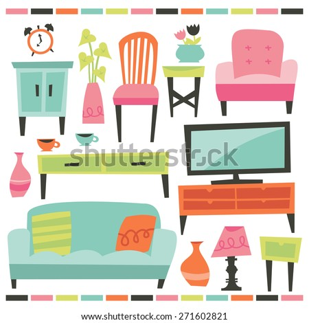 A Chic Vector Illustration Of Retro Inspired Home And Living Furniture Design Elements Included In