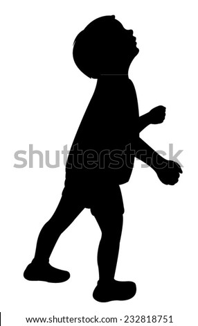 a child head looking up, silhouette vector  - stock vector