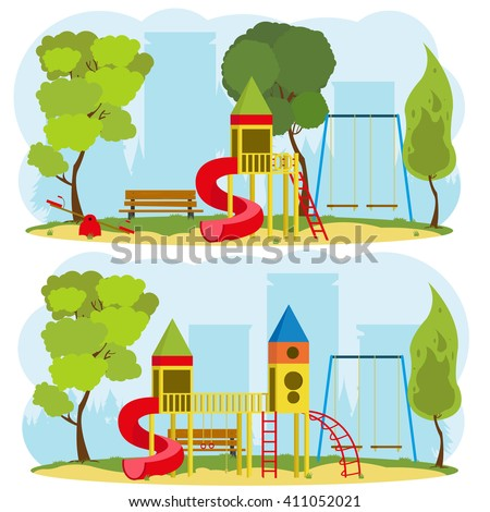 a children's playground in a city park. 2 isolated images on the theme of outdoor recreation. vector. a children's playground in the park. children's playground equipment.