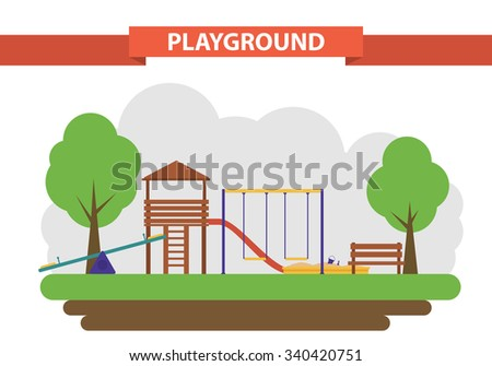 A children's playground in a flat style. set of elements for the construction of the yard. swings, sandpit and slide. - stock vector