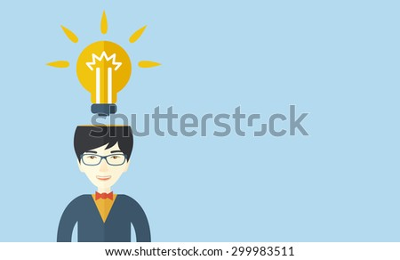 A chinese businessman has a bright idea for marketing strategy with a bulb on his head. Human intelligence concept. A contemporary style with pastel palette soft blue tinted background. Vector flat - stock vector
