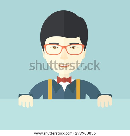 A chinese guy holding a white board. A Contemporary style with pastel palette, soft blue tinted background. Vector flat design illustration. Square layout.   - stock vector
