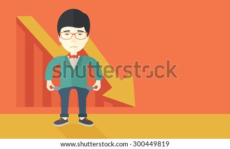 A chinese young man standing and feels bad because of his failure in his business career. Failed, bankrupt concept. A contemporary style with pastel palette soft orange tinted background. Vector flat - stock vector