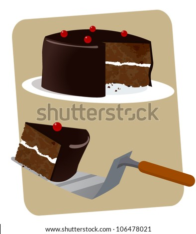 A Chocolate - Black-forest Cake with a slice on a Serving Spoon - stock vector