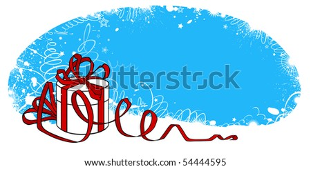 A Christmas card with a gift in a package - stock vector