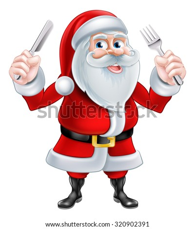 A Christmas cartoon illustration of Santa Claus holding a knife and fork - stock vector