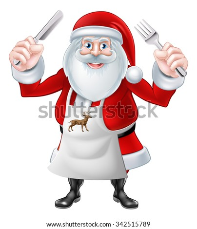 A Christmas cartoon illustration of Santa Claus holding knife and fork in an apron - stock vector