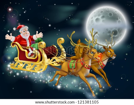 A Christmas illustration of Santa and sled delivering gifts on Christmas Eve with the moon in the background - stock vector