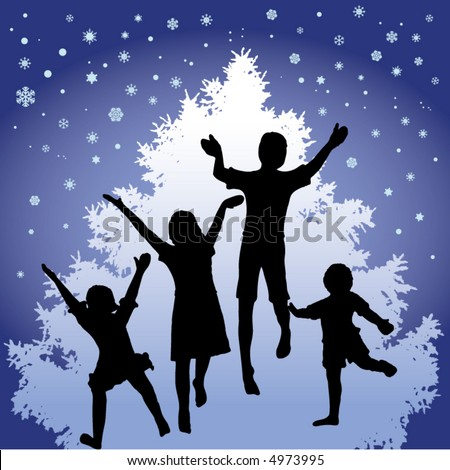 A Christmas motif where kids dance in front of a Christmas tree with snow in the air - stock vector