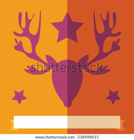 A Christmas rein deer head flat design illustration on a orange background with stars. Ribbon for copy space on the bottom. Vector image. - stock vector