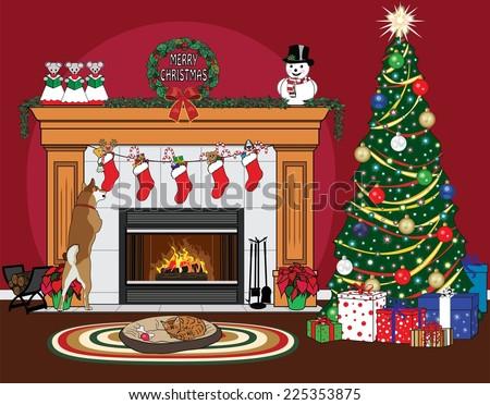 Christmas Scene Tree Stockings