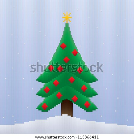 A Christmas tree design made entirely of stripes in coloured gradients giving an 8-bit look to the image.
