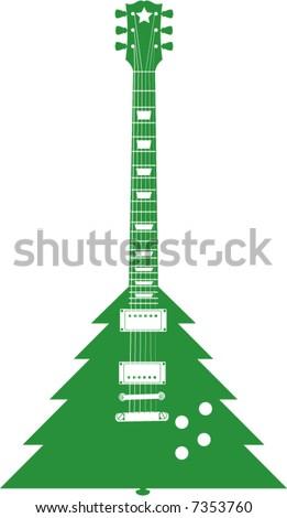 A Christmas tree Guitar - stock vector