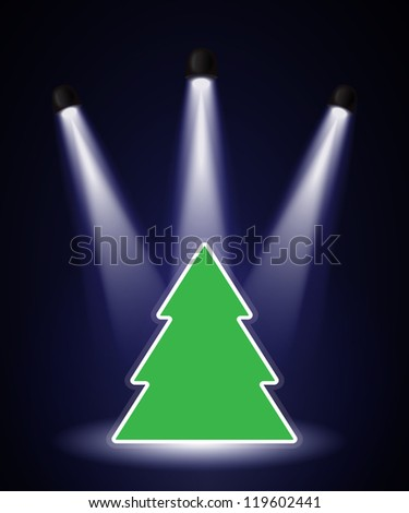 A Christmas tree shape in the spotlight with space for your text. EPS10 vector format. - stock vector