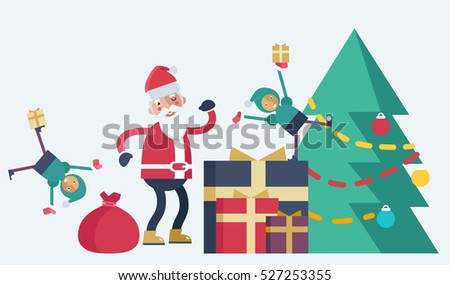 A Christmas tree with different sized presents near it and Santa Claus