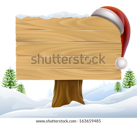 A Christmas wooden sign with a Santa Hat hanging on it in a winter scene with trees in the background - stock vector