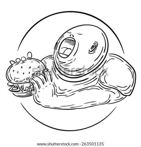 A chubby kid eating hamburger. EPS10 vector illustration - stock vector