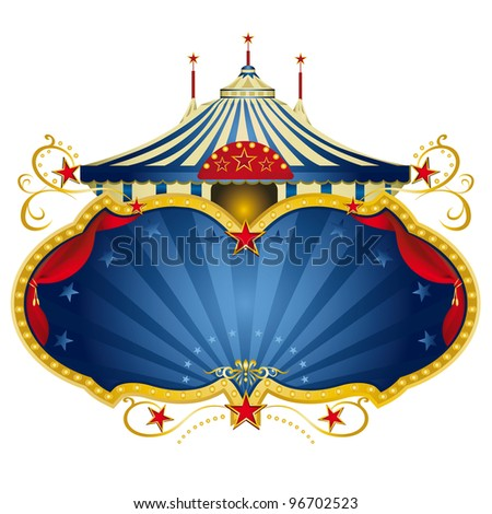 A circus frame with a big top and a large copy space with curtains for your message - stock vector