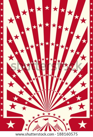 A circus poster with red sunbeams