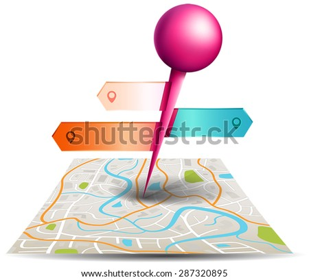 A city map with digital satellite gps pin point application  with colorful badge and label tags in white isolated background, create by vector     - stock vector