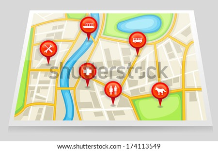 A city satellite map gps with important pin location of restaurant hospital garage maintenance repair pet shop and bus stop station transportation in red marker 2, create by vector