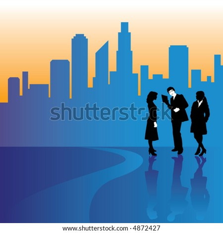 A city skyline is backdrop to three businesspeople - stock vector