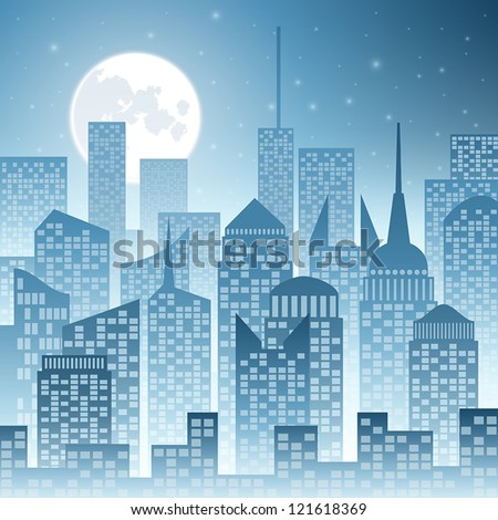 A Cityscape with Skyscrapers and Moon - stock vector