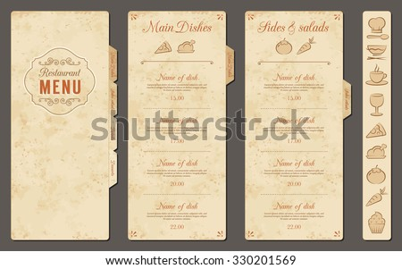 A Classic Restaurant Menu Template with nice food Icons in an Elegant Style on a vintage grunge background - stock vector