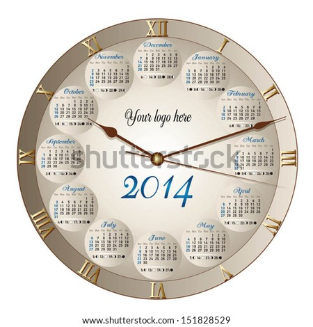 A classic round clock shaped calendar for 2014, moon phases included - stock vector