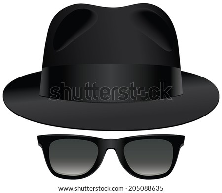 A classic set of black fedora and sunglasses. - stock vector