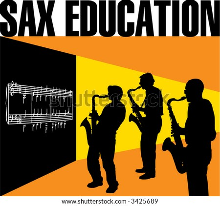A classroom setting with three sax players in front of a blackboard - stock vector