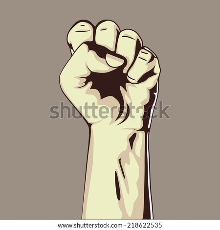A clenched fist held high in protest, vector illustration. Hand collection. - stock vector