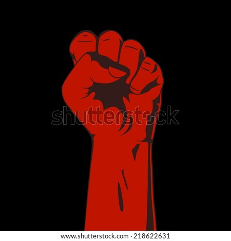 A clenched fist. Red and black. Vector illustration. Hand collection. - stock vector