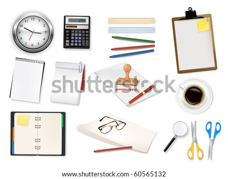 A clock, calculator and some office supplies. Vector. - stock vector