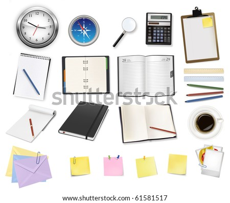 A clock, calculator and some office supplies. Vector. - stock vector