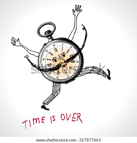 A clock character running. Time is over. Hand drawn vector illustration in vintage engraved style - stock vector