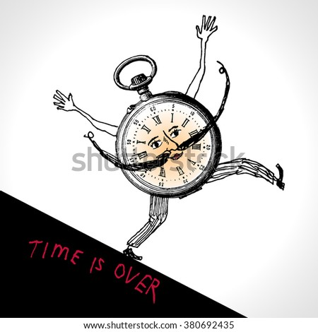 A clock character running. Time is over. Hand drawn vector illustration, vintage engraved style