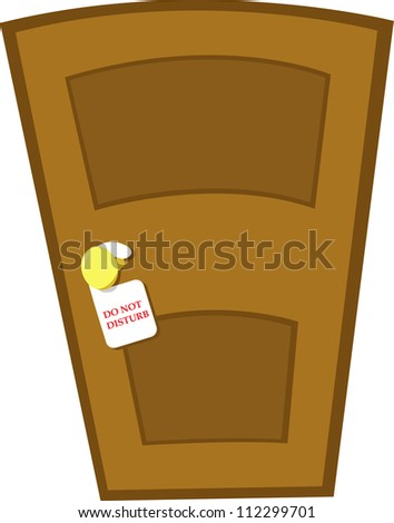 a closed door and a do not disturb sign - stock vector