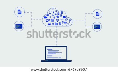 Cloud application cloud app software program vectores en stock a cloud application or cloud app is a software program where cloud based malvernweather Choice Image