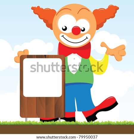a clown and a signboard - stock vector