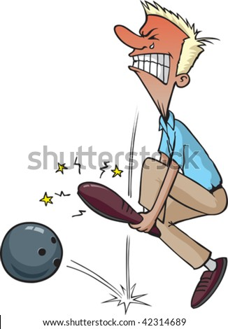 A clumsy cartoon bowler has just dropped his ball on his foot.