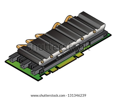 A co-processor/parallel processor card with a large heat sink and heat pipes.