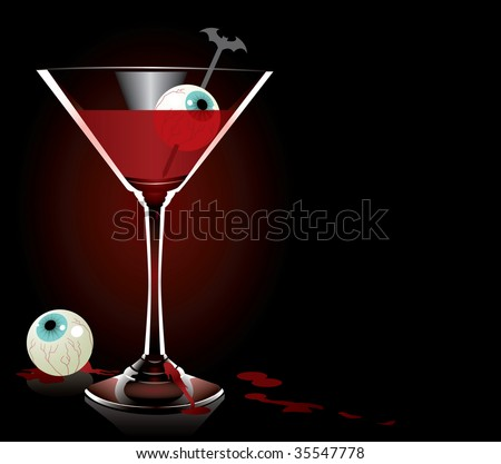 A cocktail fit for a vampire... or werewolf...or zombie...or your halloween party. - stock vector