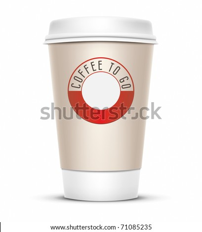 A coffee cup vector illustration with the words coffee to go - stock vector