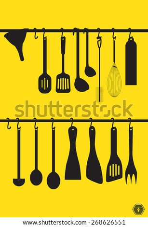 A collection kitchen utensils hanging on the chromed bar. Illustration - stock vector