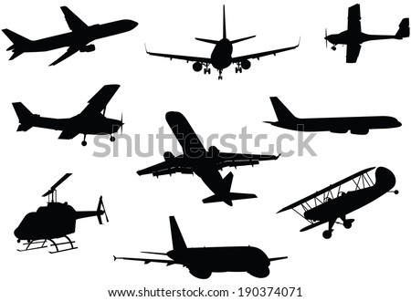A collection of a variety of aircraft silhouettes.