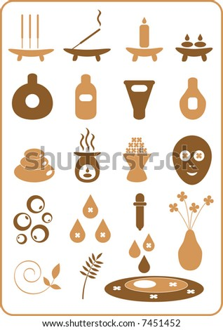 A collection of aromatherapy design elements. - stock vector
